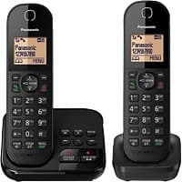 Panasonic Twin Cordless DECT Telephone with Answering Machine KX-TGC422EB Black Pack of 2