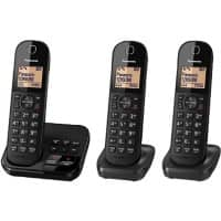 Panasonic Triple Cordless DECT Telephone with Answering Machine KX-TGC423EB Black Pack of 3