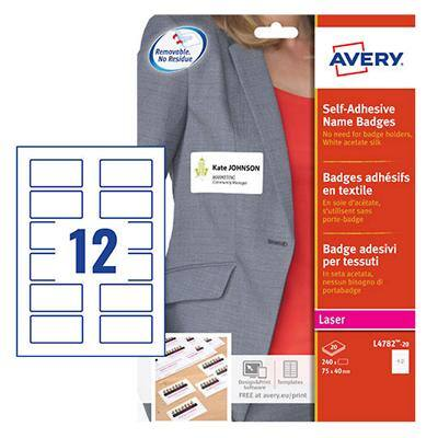 Avery Self Adhesive Name Badge 74 x 40mm 20 sheets of 12 Badges