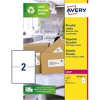 Avery Recycled Address Labels LR7168-15 199.6 x 143.5 mm 15 Sheets of 2 Labels
