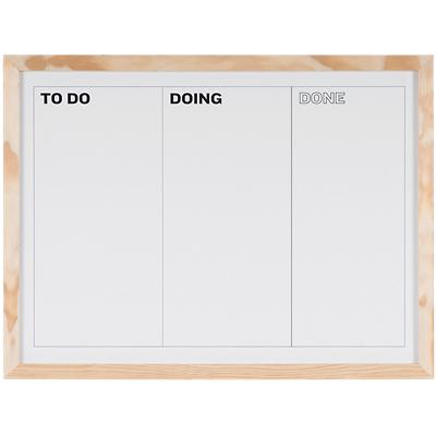 Bi-Office Kan Ban Whiteboard Natural Pine Frame Wall Mount Magnetic White 600x 450mm
