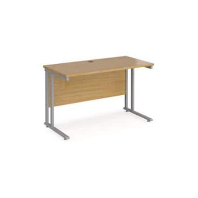 Rectangular Straight Desk Oak Wood Cantilever Legs Silver Maestro 25 1200 x 600 x 725mm