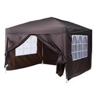 OutSunny Pop Up Gazebo Outdoors Water proof Coffee 3000 mm x 3000 mm x 2550 mm