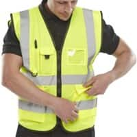 B Seen Executive Waistcoat Hi-Vis Polyester XXL Yellow
