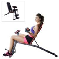 HOMCOM Foldable Exercise Bench 6 Levels Adjustment - Black/Red