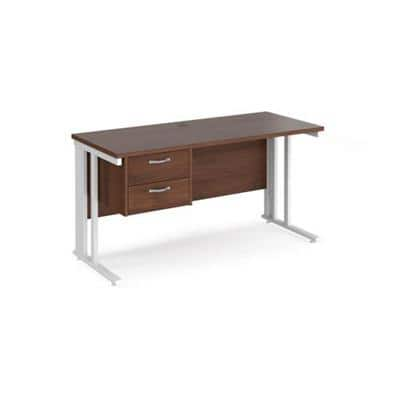 Rectangular Straight Desk Walnut Wood Cantilever Legs White Maestro 25 1400 x 600 x 725mm 2 Drawer Pedestal
