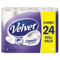 Velvet Toilet Paper Classic Quilted 3 Ply 24 Rolls