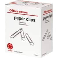 Office Depot Paper Clips Round 30mm Silver Pack of 1000