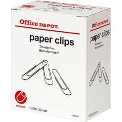 Office Depot Paper Clips Round Silver 30 mm 1000 pieces