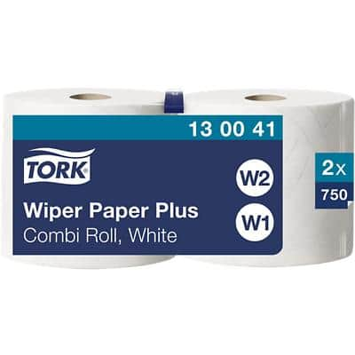 Tork Wiping Paper W1, W2 2 Ply Rolled White 2 Rolls of 750 Sheets