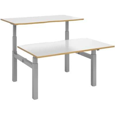 Dams International Sit Stand Desk Elev8 Touch White, Oak 1,400 x 1,650 x 675 x 675 - 1,300 mm