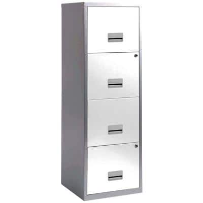 Pierre Henry Filing Cabinet with 4 Lockable Drawers Maxi 400 x 400 x 1250mm Silver & White