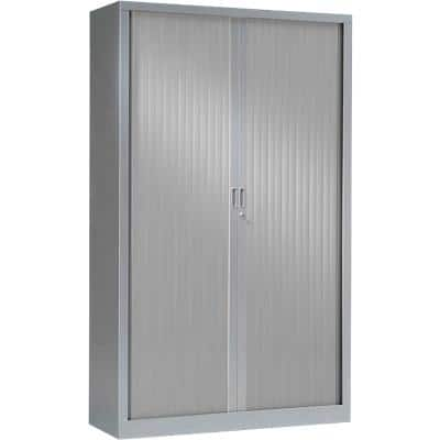 Pierre Henry Tambour Cupboard Lockable with 4 Shelves Steel Generic 1000 x 430 x 1980mm Silver