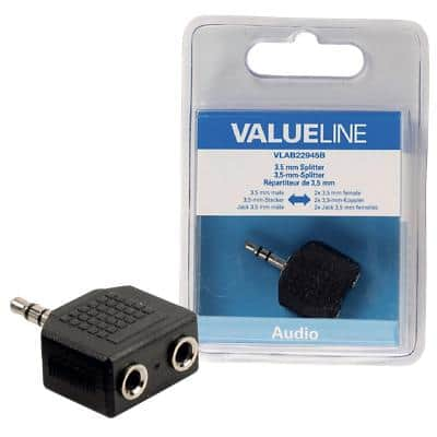 Valueline Stereo Audio Adapter VLAB22945B 1 x 3.5mm Male & 2 x 3.5mm Female