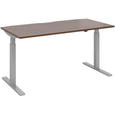 Elev8² Sit Stand Single Desk with Walnut Melamine Top and Silver Frame 2 Legs Mono 1600 x 800 x 675 - 1175 mm