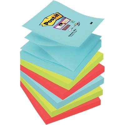 Post-it Super Sticky Z-Notes 76 x 76 mm Miami Assorted Colours 6 Pads of 90 Sheets