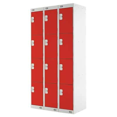 LINK51 Standard Mild Steel Locker with 4 Doors Standard Deadlock Lockable with Key 3 300 x 450 x 1800 mm Grey & Red