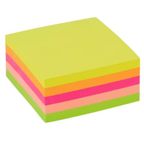 Office Depot Sticky Note Cube Assorted 76 x 76 mm 75gsm 400 sheets