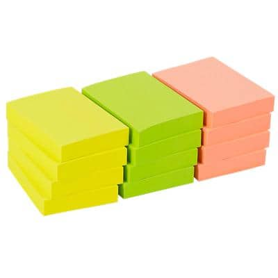 Office Depot Sticky Notes 38 x 51 mm Assorted Neon 12 Pads of 100 Sheets