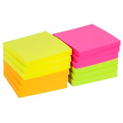 Office Depot Sticky Notes 76 x 76 mm Assorted Neon 12 Pieces of 100 Sheets