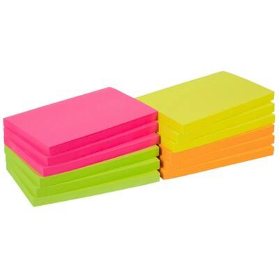 Office Depot Sticky Notes 76 x 127 mm Assorted Neon 12 Pieces of 100 Sheets