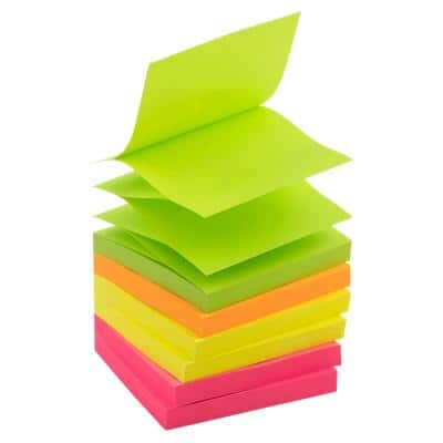 Office Depot Z-Notes 76 x 76 mm Assorted Neon 6 Pads of 100 Sheets