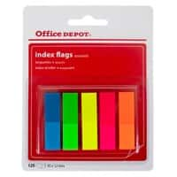 Office Depot Index Flags Assorted Plain 12 x 45 mm 25 Strips Pack of 5