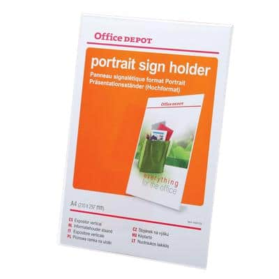 Office Depot Angled Sign Holder A4 Transparent Plastic 211 x 67 x 295mm