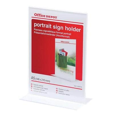 Office Depot A5 Portrait T-Sign Holder