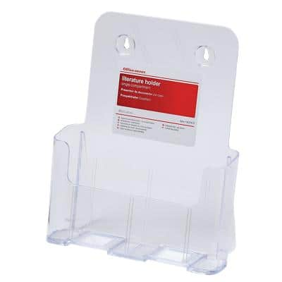 Office Depot Single Tier Literature Holder A4 Transparent Plastic 23.4 x 9.8 x 27.2 cm