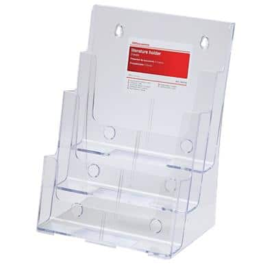 Office Depot 3 Tier Literature Holder Single A4 Transparent Plastic 23 x 16 x 32 cm