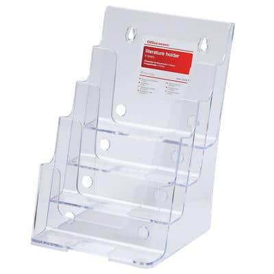 Office Depot Portrait Literature Display 4 Tier A5 Transparent Plastic 165 x 254 x 159mm