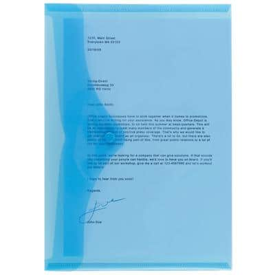 Office Depot Document Wallets A4 Transparent Blue Polypropylene 23.5 x 33.5 cm 5 Pieces