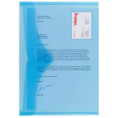 Office Depot Document Wallets Business Card Holder A4 Blue Polypropylene 23.5 x 33.5 cm Pack of 5