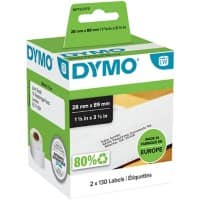 DYMO Address Labels 99010 89 x 28 mm White 2 Rolls of 130 Labels