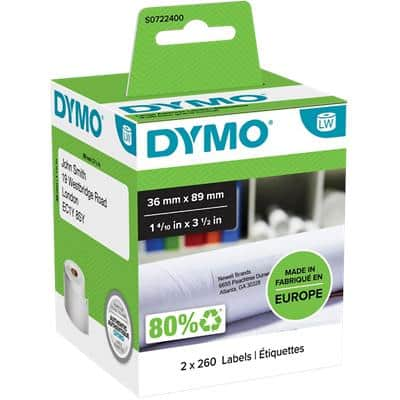 DYMO Address Labels 99012 89 x 36 mm White 2 Rolls of 260 Labels