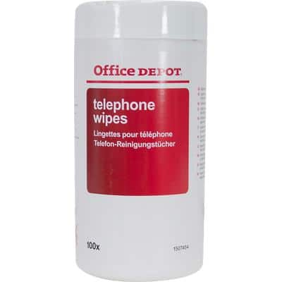 Office Depot Telephone Wipes White 16.5 cm Pack of 100