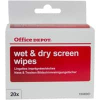 Office Depot Screen Wipes White 7 x 9 cm 20 Pieces
