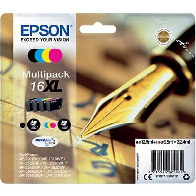 Epson 16XL Original Ink Cartridge C13T16364012 Black & 3 Colours Pack of 4