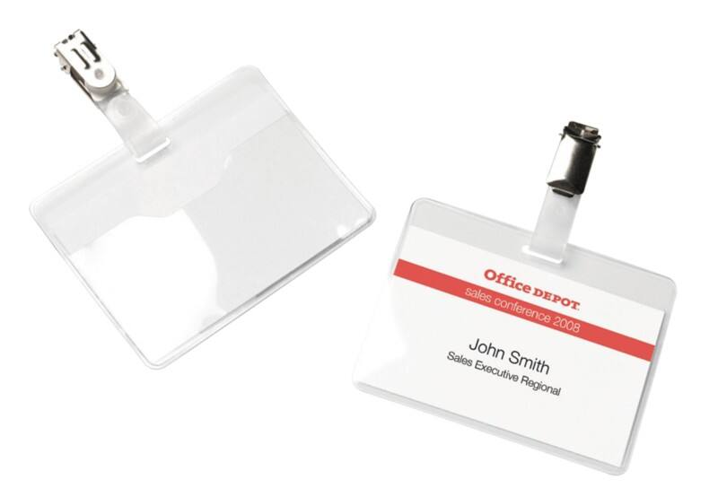 Office Depot Standard Name Badge with Clip Horizontal 90 x 60 mm 25 Pieces