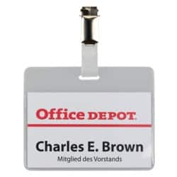 Office Depot Clip Badges 90 x 60 mm 50pk