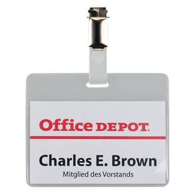 Office Depot Standard Name Badge with Clip Horizontal 90 x 60 mm 50 Pieces