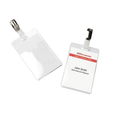 Office Depot Standard Name Badge with Clip Vertical 60 x 90 mm 50 Pieces