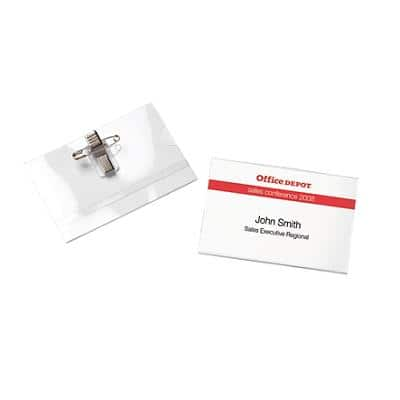 Office Depot Standard Name Badge with Crocodile Clip and Pin Landscape 90 x 60 mm 25 Pieces