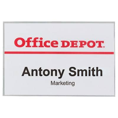 Office Depot Standard Name Badge with Combi Clip Landscape 90 x 60mm 50 Pieces