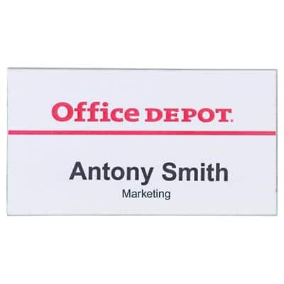 Office Depot Standard Name Badge with Combi Clip Landscape 75 x 40 mm Pack of 50