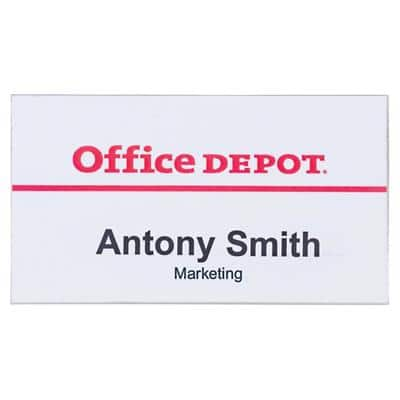 Office Depot Standard Name Badge with Pin Landscape 75 x 40 mm Pack of 50