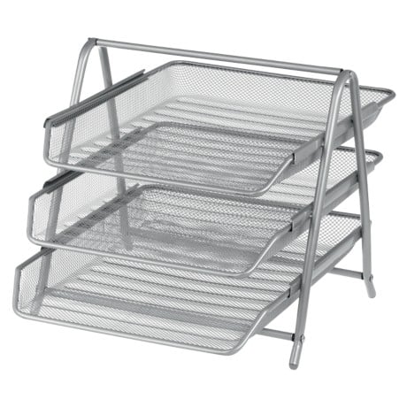Office Depot Executive Mesh 3 Tier Letter Tray - Silver