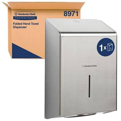Kimberly-Clark Professional Hand Towel Dispenser 8971 Stainless Steel Silver 23.7 x 11.8 x 34.9 cm