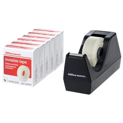 Office Depot Tape Dispenser + 6 Roll of Invisible Tape Black